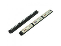 Patch panel 24port cat.5e UTP black