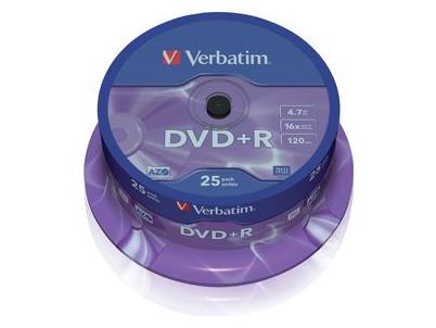 DVD + R Verbatim 4.7GB 16x CAKE 25pcs