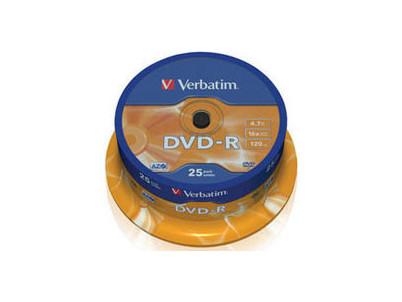 DVD - R Verbatim 4.7GB 16x CAKE 25pcs printable