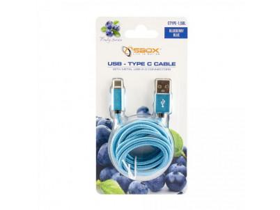 SBOX USB-TYPEC-15BL Kábel USB 2.0/TypeC 1,5m modr