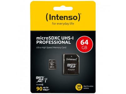 INTENSO Micro SDXC karta 64GB Class10, UHS-1 PRO