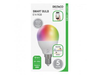 DELTACO SH-LE14G45RGB, SMART Led žiarovka, E14